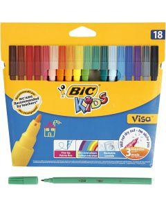 Visa Fine Marker, line 1,6 mm, assorted colours, 18 pc/1 pack