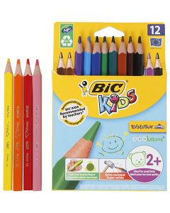 Evolution Triangular Colouring Pencils, L: 14 cm, lead 5 mm, assorted colours, 12 pc/ 1 pack