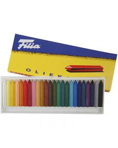 Oil Crayons, L: 6 cm, thickness 7x7 mm, 24 pc/ 1 pack