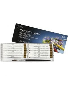 Watercolor Crayons, L: 9,3 cm, white (301), 12 pc/ 1 pack