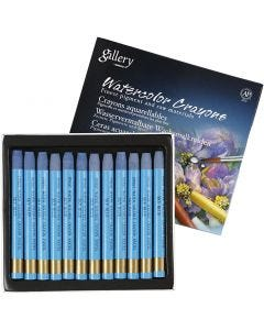 Watercolor Crayons, L: 9,3 cm, sky blue (337), 12 pc/ 1 pack