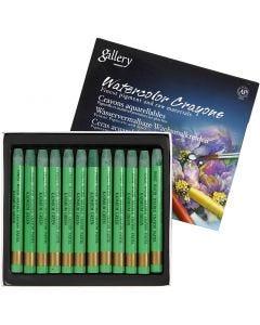 Watercolor Crayons, L: 9,3 cm, kadmium green (345), 12 pc/ 1 pack