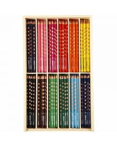 Groove Slim Colouring Pencils, L: 18 cm, lead 3,3 mm, assorted colours, 12x12 pc/ 1 pack