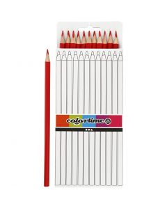 Colortime colouring pencils, L: 17 cm, lead 3 mm, red, 12 pc/ 1 pack