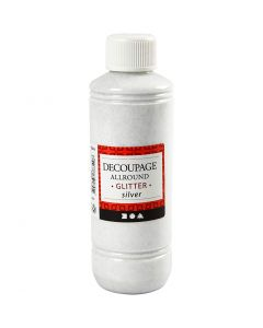 Decoupage Varnish, glitter, silver, 250 ml/ 1 bottle