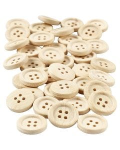 Wooden Buttons, D: 18 mm, 4 holes, 40 pc/ 1 pack