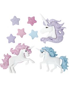Novelty Buttons, magical unicorns, H: 9-32 mm, W: 9-35 mm, 3 pc/ 1 pack