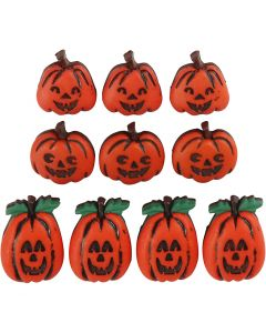 Novelty Buttons, jack o'lanterns, H: 14-20 mm, W: 13-14 mm, 10 pc/ 1 pack