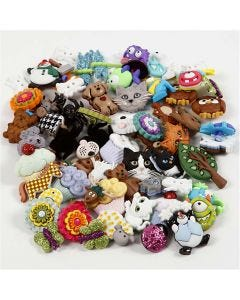 Novelty Buttons, D: 15-45 mm, 19 pack/ 1 pack
