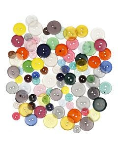 Button Mix, assorted colours, 100 pc/ 1 pack, 50 g