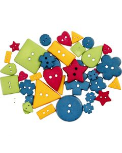 Shape Buttons, D: 8-18 mm, hole size 2 mm, bold colours, 37 pc/ 1 pack