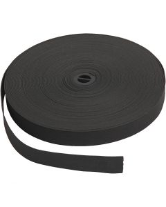 Elastic Cord, W: 20 mm, black, 25 m/ 1 roll