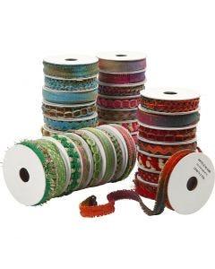 Decorative Ribbon, W: 8-12 mm, blue, green, pink, red, 64x1,8 m/ 1 pack