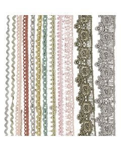 Lace Borders, W: 10-25 mm, assorted colours, 12x3 m/ 1 pack