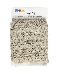 Crochet Lace Border , W: 30 mm, natural, 10 m/ 1 roll