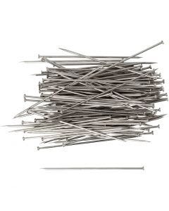Straight Pins, L: 34 mm, thickness 0,6 mm, silver, 50 g/ 1 pack