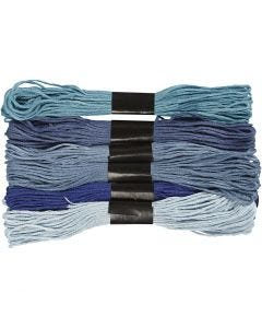 Embroidery Floss, thickness 1 mm, blue harmony, 6 bundle/ 1 pack