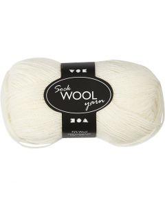 Sock Yarn, L: 200 m, off-white, 0x50 g/ 1 ball