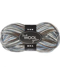 Sock Yarn, L: 200 m, blue/grey harmony, 50 g/ 1 ball