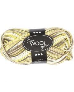 Sock Yarn, L: 200 m, green mother-of-pearl (32240), 50 g/ 1 ball