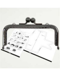 Purse Clasp Kit, size 10 cm, dark grey metallic, 1 pc