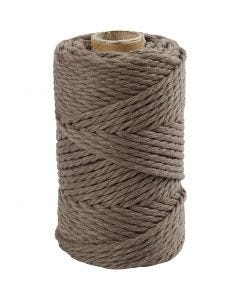 Macramé cord, L: 55 m, D: 4 mm, light brown, 330 g/ 1 roll