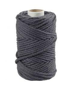 Macramé cord, L: 55 m, D: 4 mm, grey, 330 g/ 1 roll