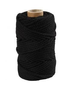 Macramé cord, L: 55 m, D: 4 mm, black, 330 g/ 1 roll