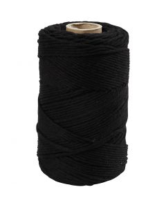 Macramé cord, L: 198 m, D: 2 mm, black, 330 g/ 1 roll