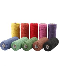 Cotton Twine, L: 315 m, thickness 1 mm, Thin quality 12/12, bold colours, 10x220 g/ 1 pack