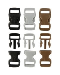 Click Clasp, L: 29 mm, W: 15 mm, hole size 3x11 mm, black, brown, grey, 100 pc/ 1 pack