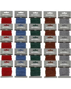 Polyester Cord, thickness 2 mm, assorted colours, 5x5 pack/ 1 pack