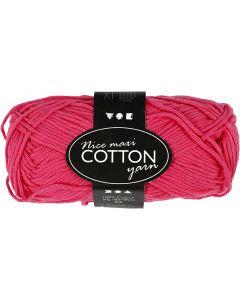 Cotton Yarn, no. 8/8, L: 80-85 m, size maxi , pink, 50 g/ 1 ball