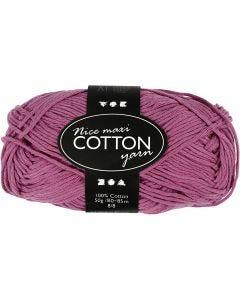 Cotton Yarn, no. 8/8, L: 80-85 m, size maxi , violet, 50 g/ 1 ball