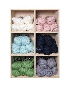 Chunky yarn of acrylic/wool, L: 15 m, size mega , assorted colours, 6x5 ball/ 1 pack