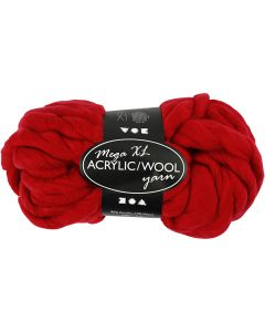 Chunky yarn of acrylic/wool, L: 15 m, size mega , dark red, 300 g/ 1 ball
