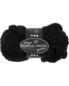 Chunky yarn of acrylic/wool, L: 15 m, size mega , black, 300 g/ 1 ball