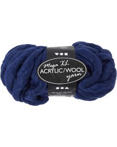 Chunky yarn of acrylic/wool, L: 15 m, size mega , dark blue, 300 g/ 1 ball