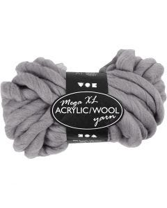 Chunky yarn of acrylic/wool, L: 15 m, size mega , grey, 300 g/ 1 ball