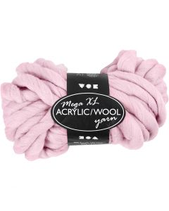 Chunky yarn of acrylic/wool, L: 15 m, size mega , rose, 300 g/ 1 ball
