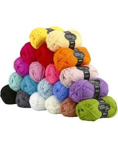 Fantasia Acrylic Yarn, L: 80 m, assorted colours, 20x50 g/ 1 pack
