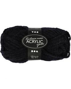 Fantasia Acrylic Yarn, L: 35 m, size maxi , black, 50 g/ 1 ball
