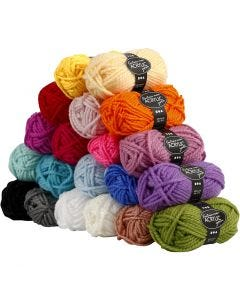 Fantasia Acrylic Yarn, L: 35 m, size maxi , assorted colours, 20x50 g/ 1 pack