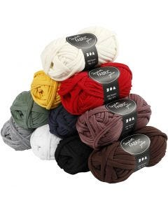 Spaghetti yarn, L: 35 m, assorted colours, 10x100 g/ 1 pack
