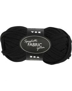 Spaghetti yarn, L: 35 m, black, 100 g/ 1 ball