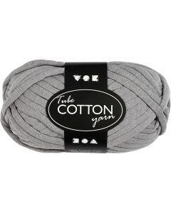 Cotton tube yarn, L: 45 m, grey, 100 g/ 1 ball
