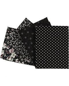 Patchwork Fabric, size 45x55 cm, 100 g, black, 4 pc/ 1 pack