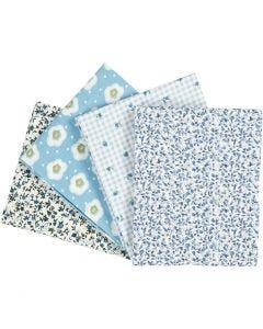 Patchwork Fabric, size 45x55 cm, 100 g, light blue, 4 pc/ 1 pack