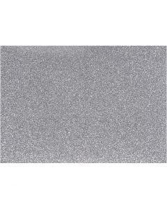 Iron on foil, 148x210 mm, glitter, silver, 1 sheet