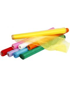 Organza Fabric, W: 50 cm, assorted colours, 8x10 m/ 1 pack